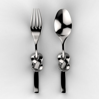 Metallic spoon and fork