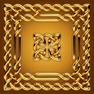 Gold Celtic frame border and sign