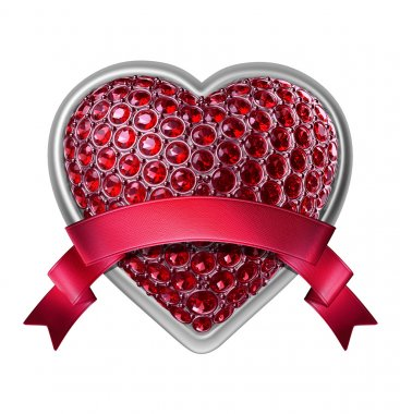 3d silver heart with ruby crystals and red ribbon tag
