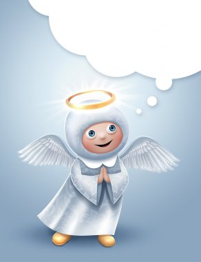 Cute praying angel character with blank talking balloon