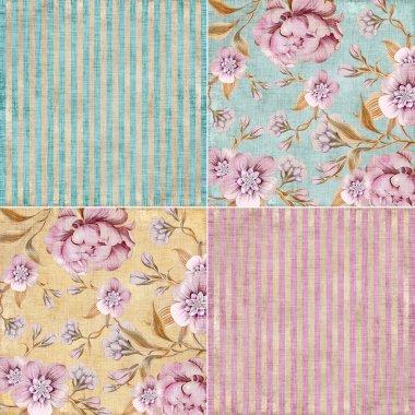 Vintage floral background set
