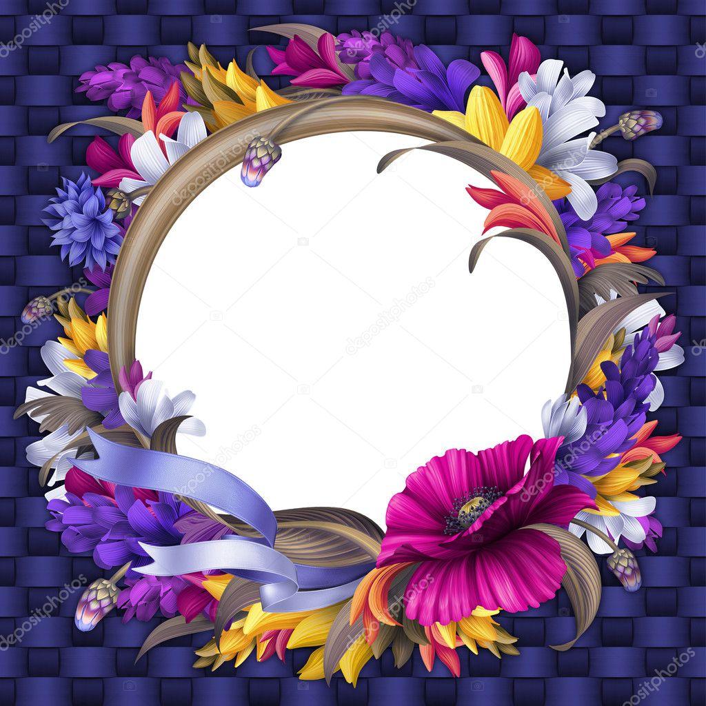 Round  flower  vintage frame