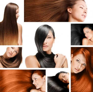 Fashion hairstyle collage, natural long shiny healthy hair