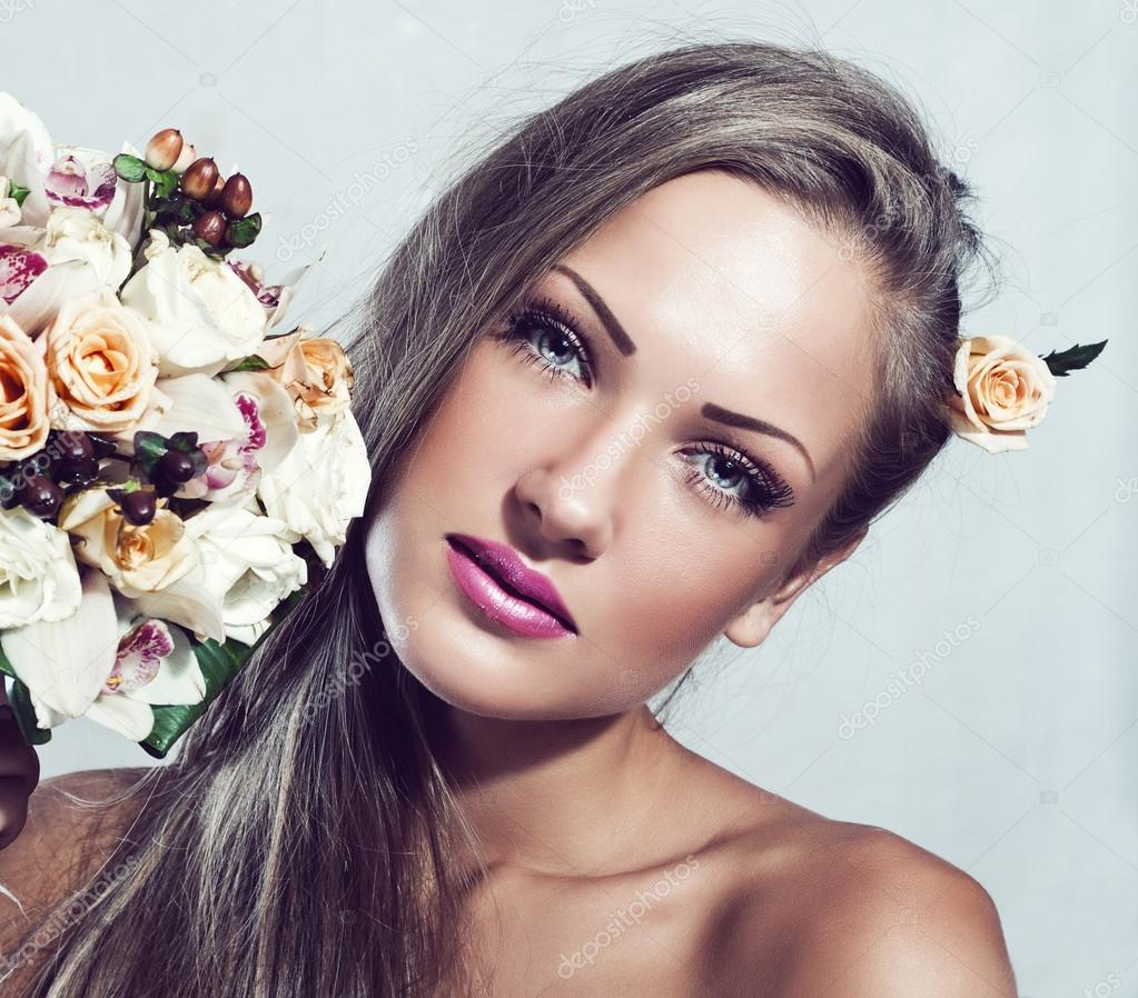 Beautiful woman with flowers makeup stock photo koji6aca beautiful woman with flowers makeup stock image dhlflorist Gallery