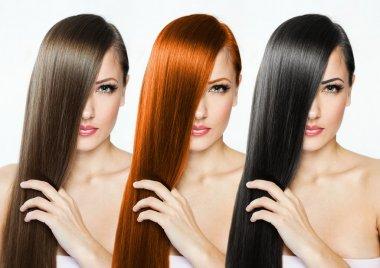 Beautiful woman with long hair stock vector