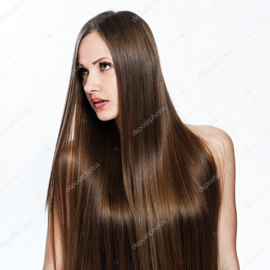 portrait of beautiful woman with long hair covering her naked body
