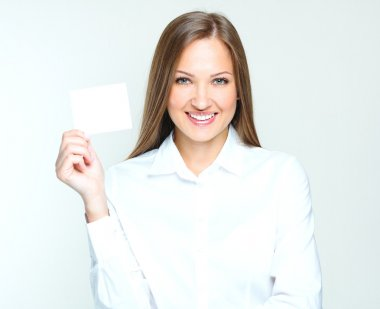 Woman holding credit visit card