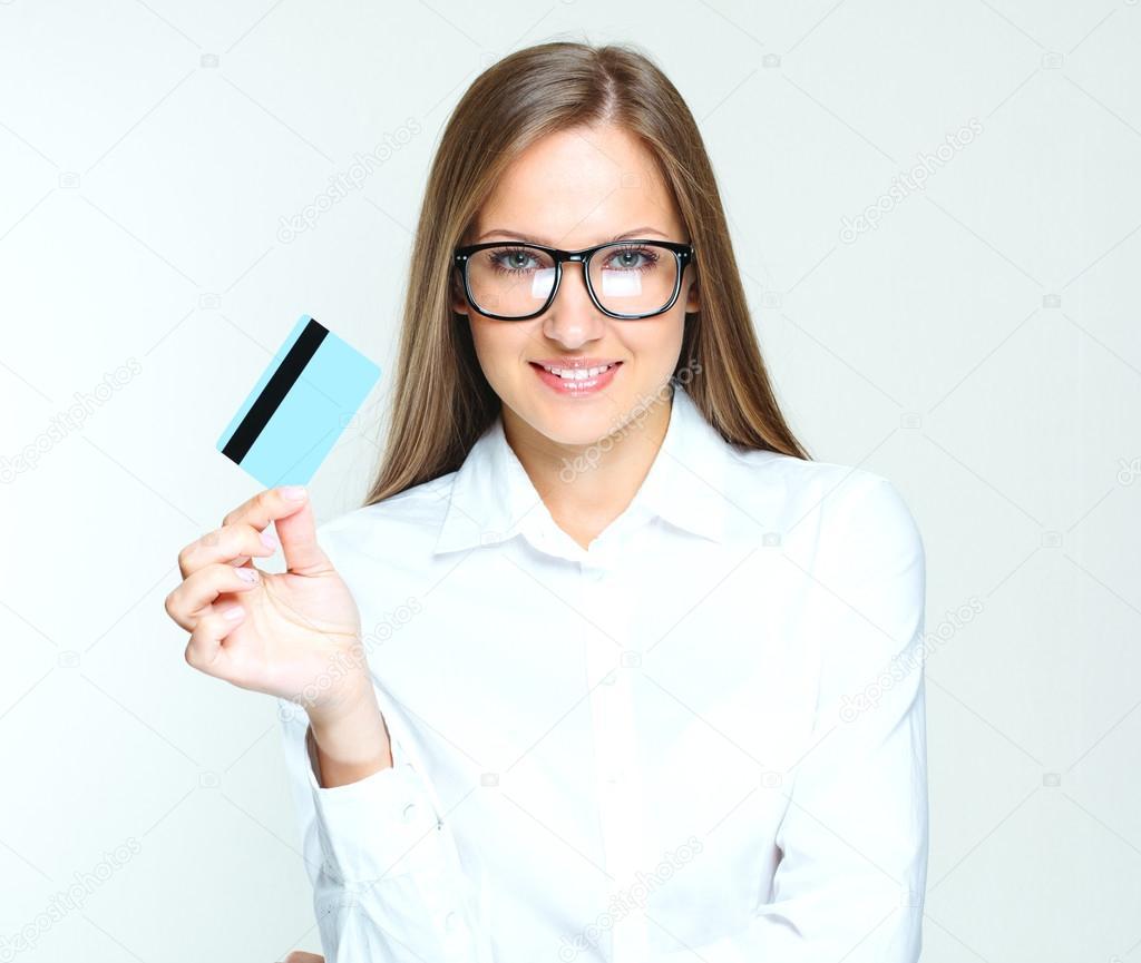 business woman holding credit card stock photo koji6aca 46255307