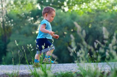 First steps of cute baby boy on footpath among greens
