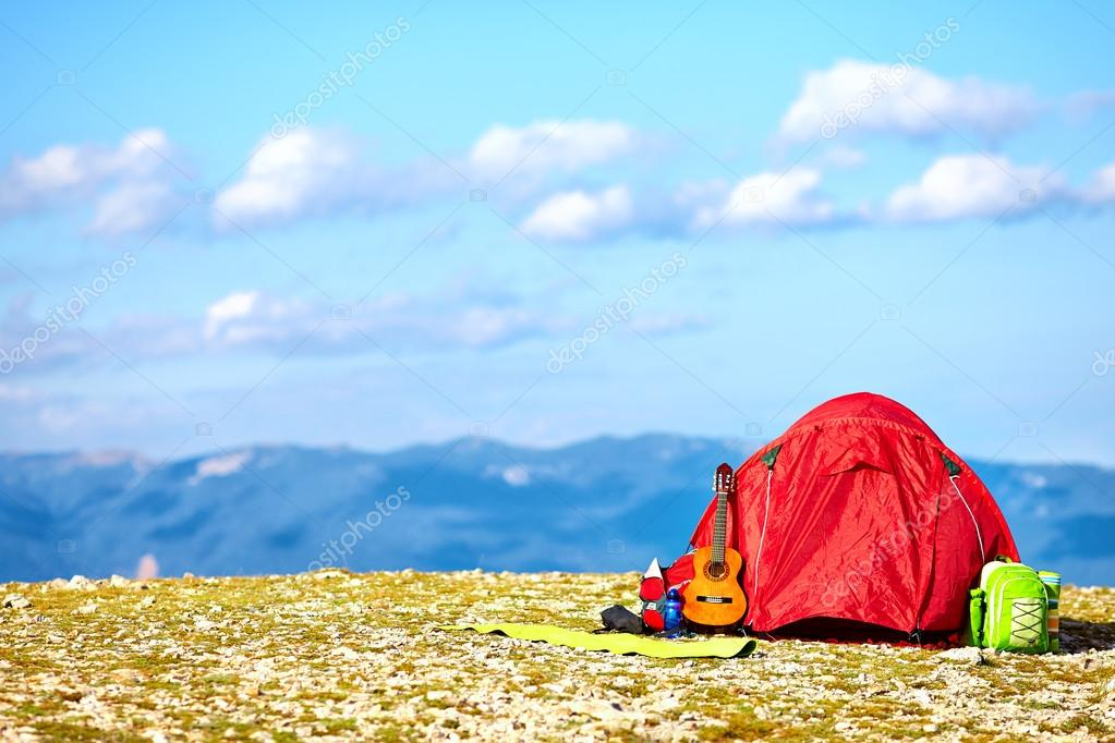 colorful tent camping in mountains. Crimea