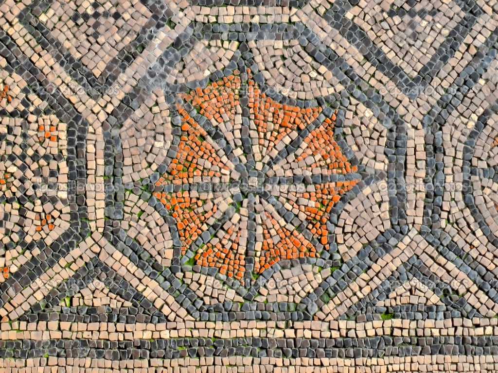 Ancient roman mosaic geometric octagonal pattern on a floor using orange and blue — Photo by ...