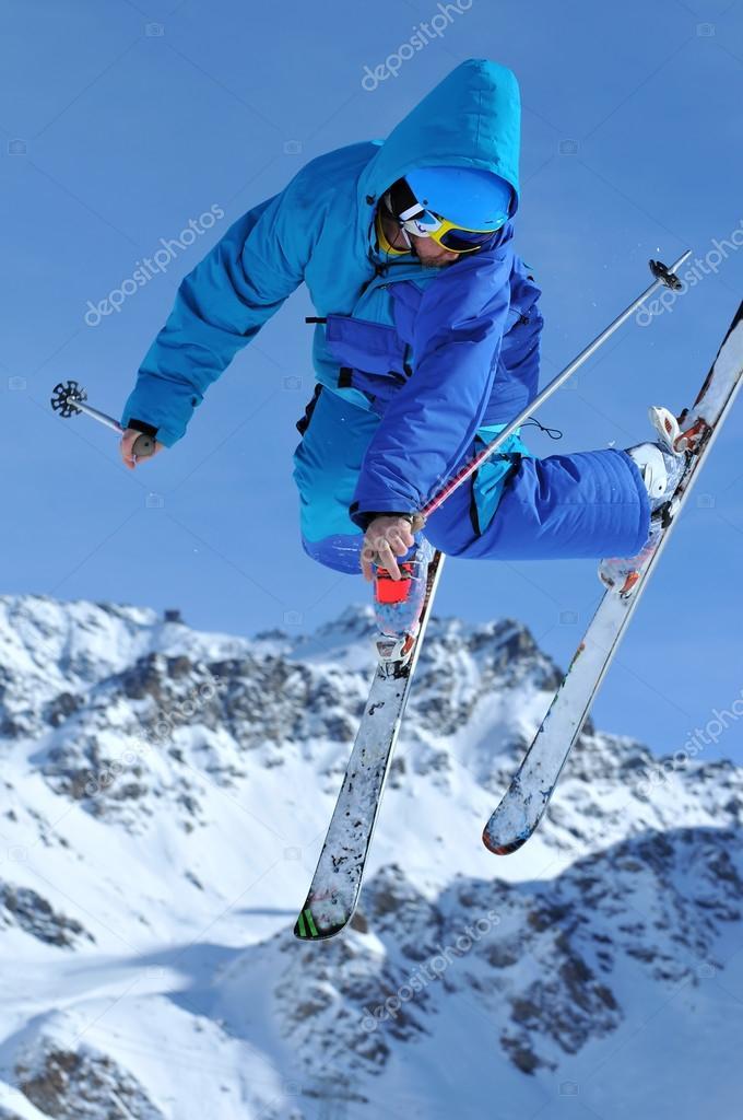 Ski jumper in blue