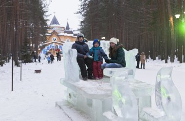 Children the icy sleigh rides on Ancestral lands Father Frost Veliky Ustyug, Vologda region, Russia