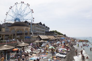 Central beach in the resort village Lasarevskoye, Sochi, Russia