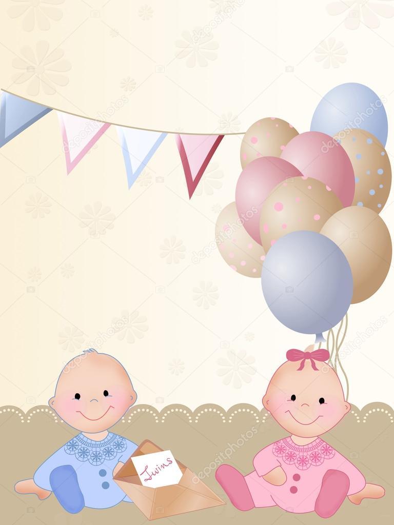 Открытки с днем рождения двойняшкам мальчику и девочке 1 годик