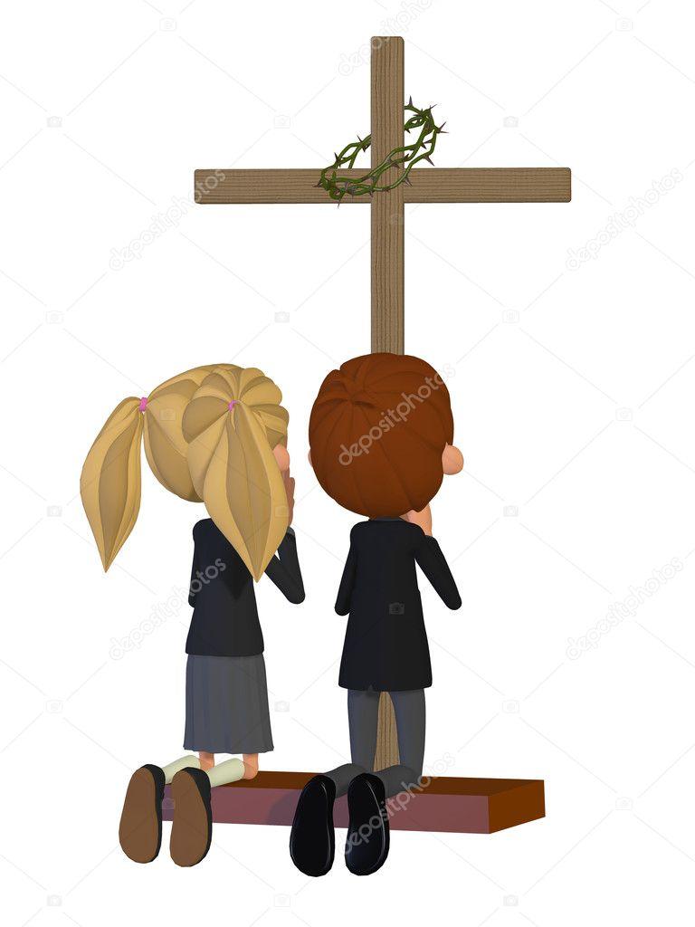 Niños rezando en la iglesia — Foto de Stock #30569071