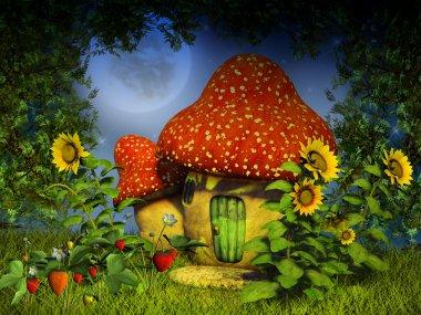 Fantasy mushroom house stock vector