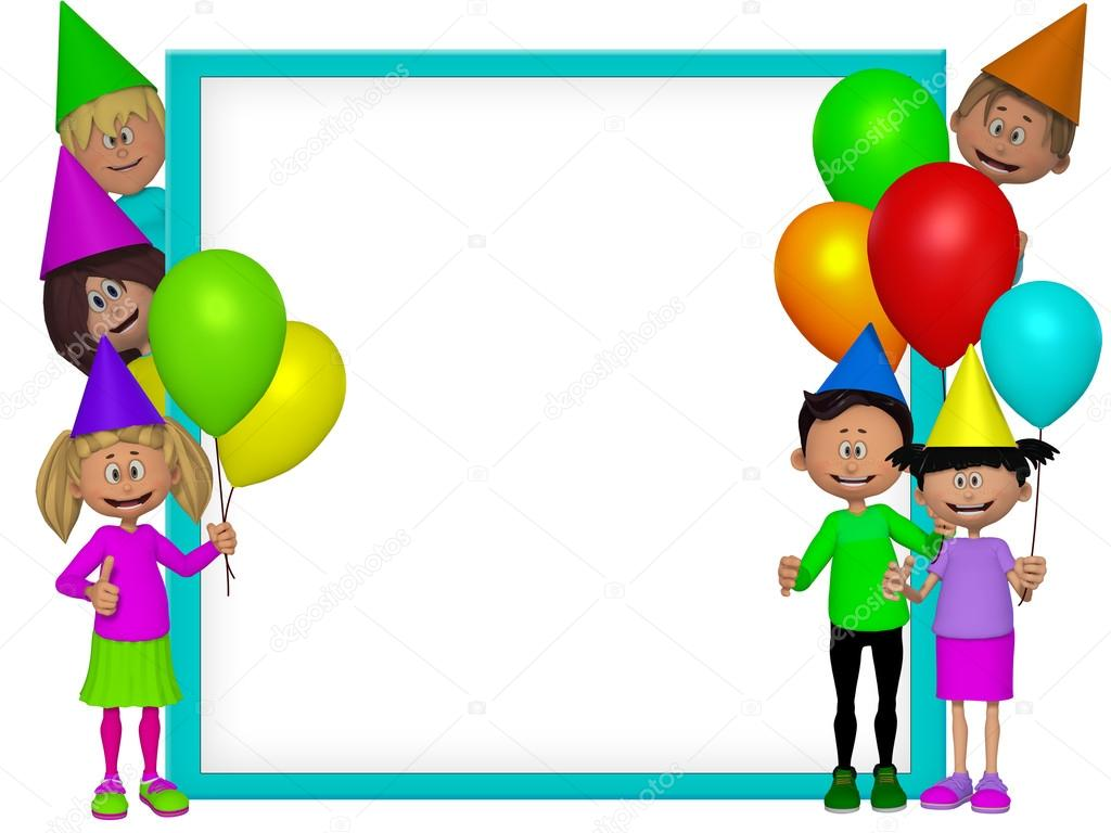 Group of 3d party kids, frame — Stock Photo © artecke #33095773