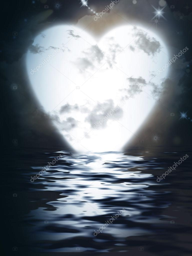 Heart Moon reflected in water