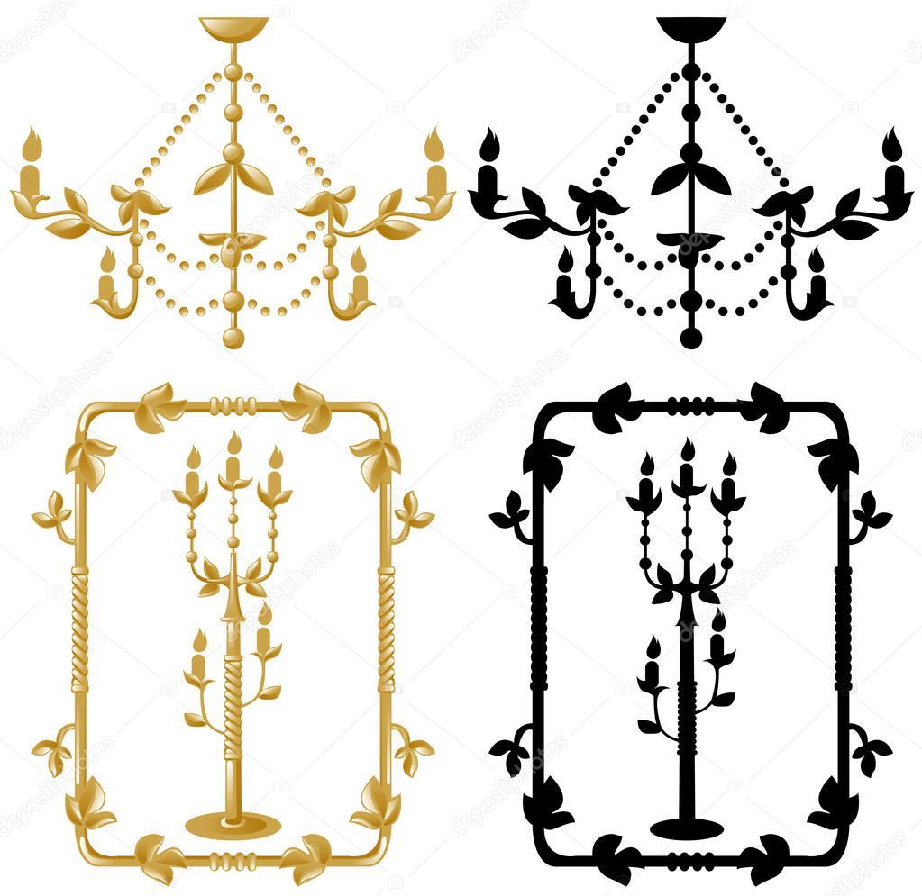 Rahmen Kandelaber und Kronleuchter — Stockvektor © ashusha #13558324