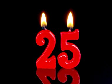 Birthday candles showing Nr. 25