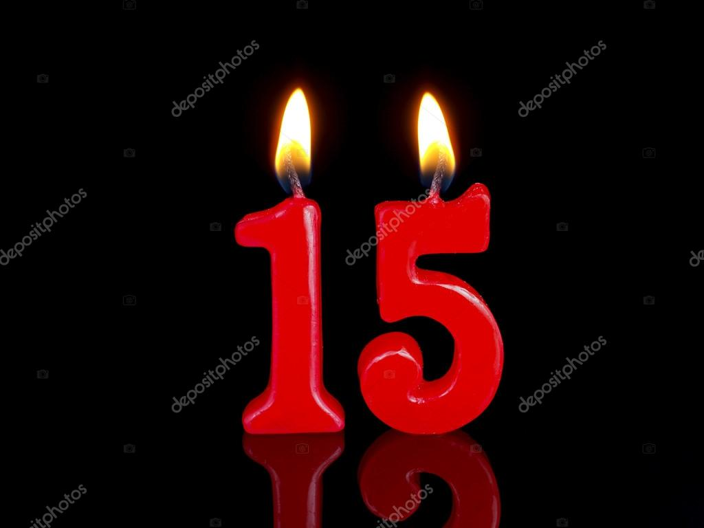 Birthday Candles Against Black Background Showing Nr 15 Photo By