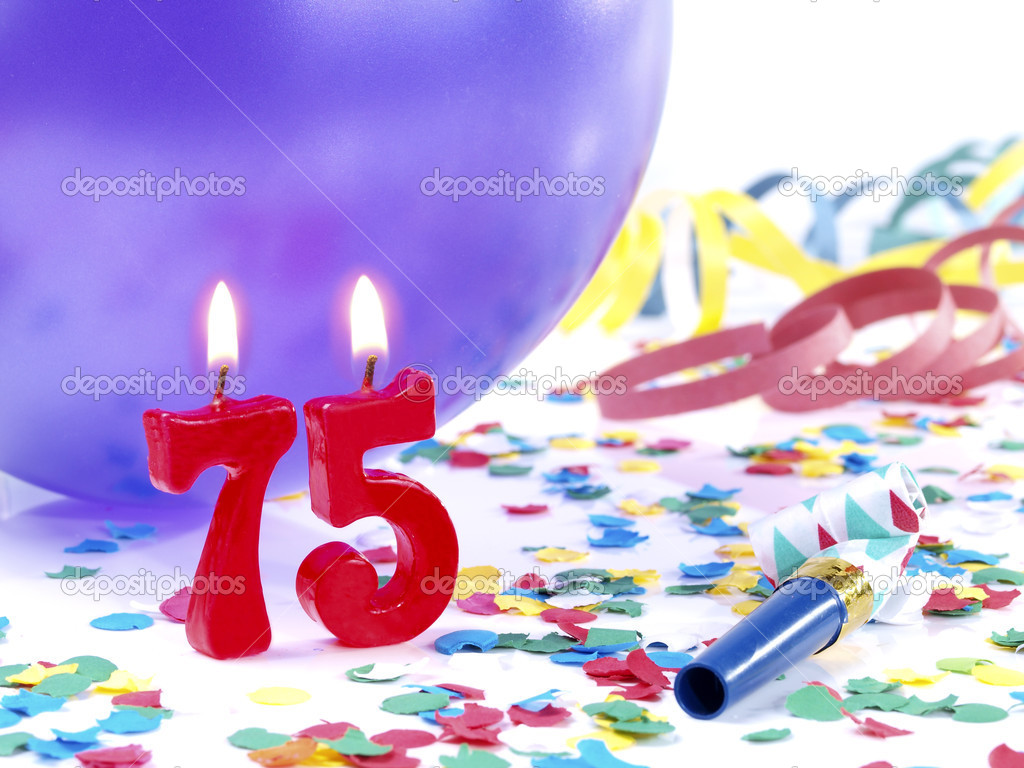 Birthday Candles Showing Nr 75 Stock Image