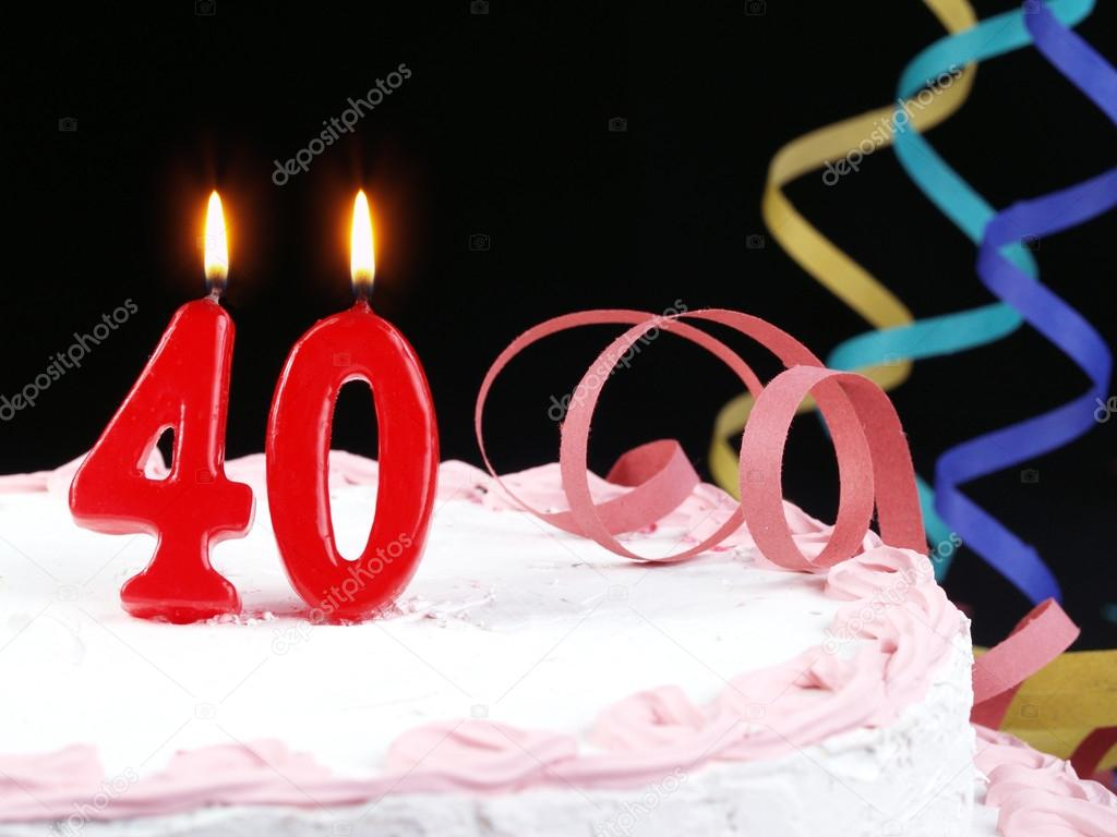 Birthday Cake With Red Candles Showing Nr 40 Stock Photo