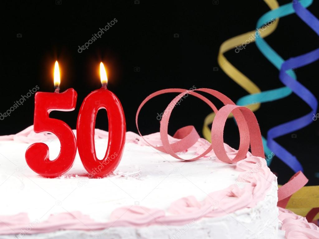 Birthday Cake With Red Candles Showing Nr 50 Stock Photo