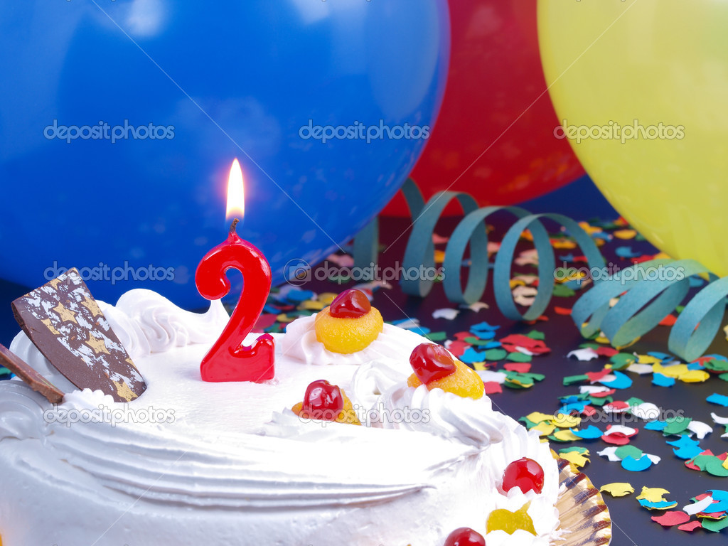 Birthday Cake With Red Candles Showing Nr 2 Stock Image