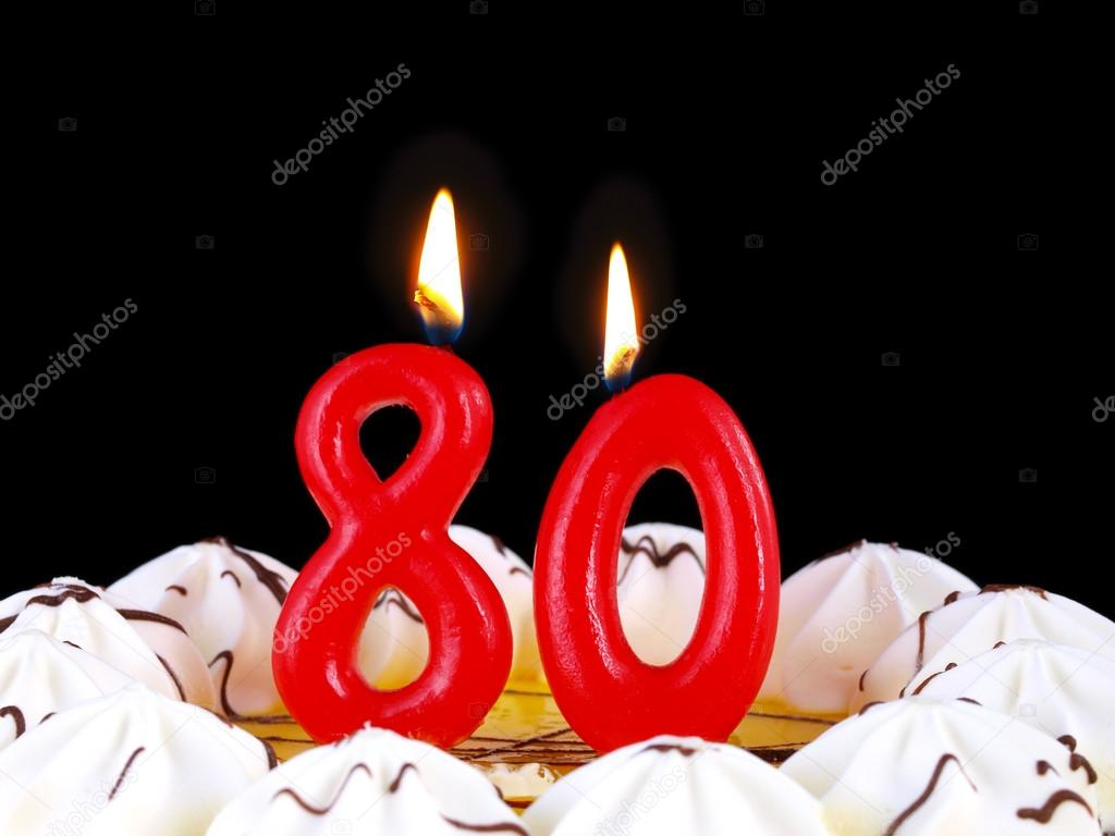 Birthday Cake With Red Candles Showing Nr 80 Stock Image