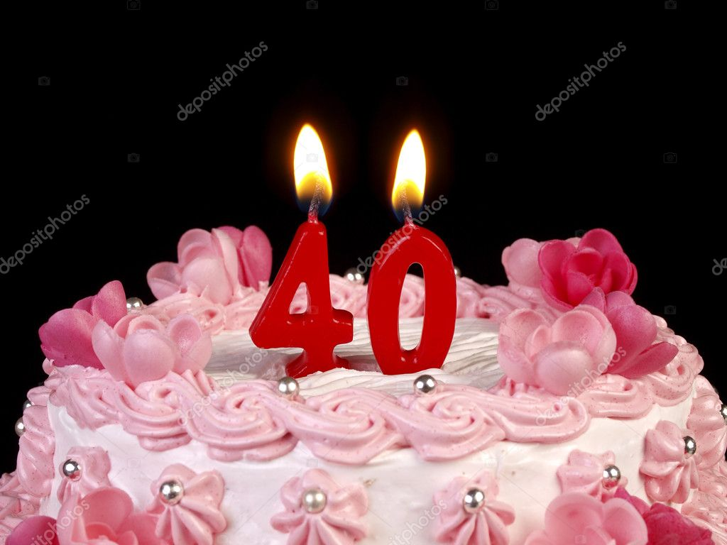 Birthday Cake With Red Candles Showing Nr 40 Stock Image