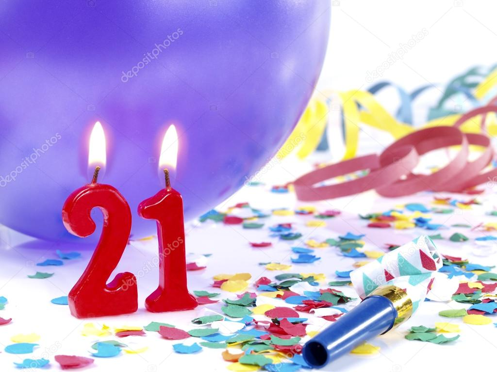 Birthday Candles Showing Nr 21 Stock Image