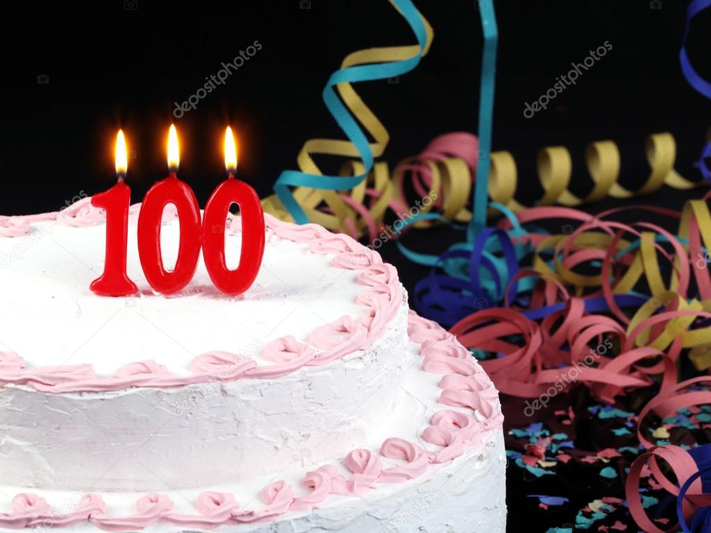 Birthday Cake With Red Candles Showing Nr 100 Stock Image