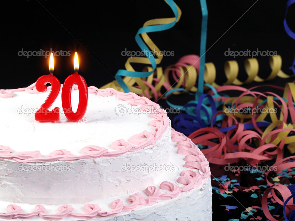 Birthday Cake With Red Candles Showing Nr 20 Stock Photo