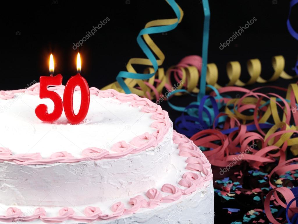 Birthday Cake With Red Candles Showing Nr 50 Stock Image