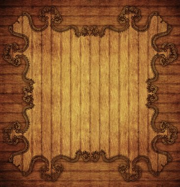 Vintage wooden background with ornamental border stock vector