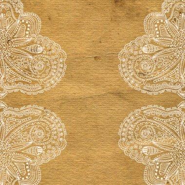 Ornate grunge paper frame (beige vintage greetings) stock vector