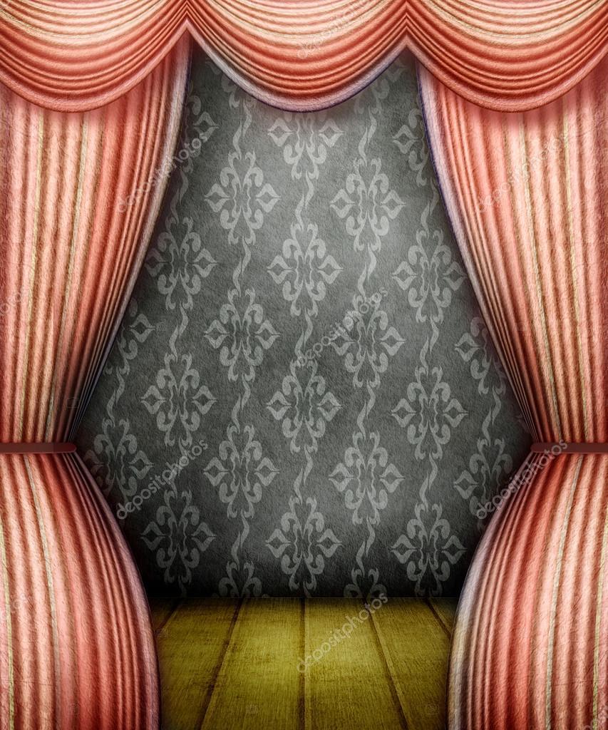 habitacin de estilo antiguo con cortinas rojas u foto de stock
