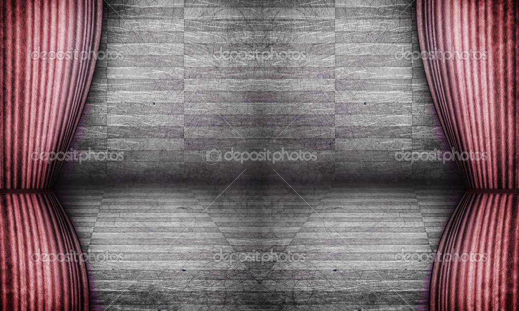 grunge donkere scene met oude gordijnen stockfoto