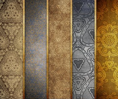 Paper with ornaments. Banner set