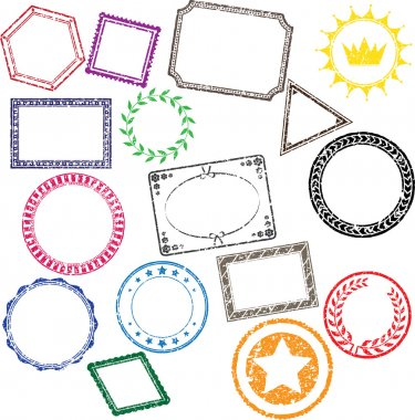 16 detailed grunge stamps vectors. clip art vector