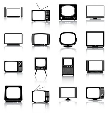 16 silhouettes/ icons of retro and modern televisions. stock vector