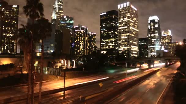 Time Lapse of LA Downtown Buildings and Freeway Los Angeles