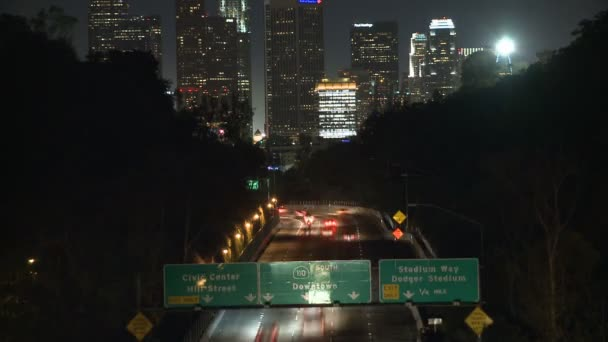 Time Lapse of Traffic heading towards Los Angeles City at Night