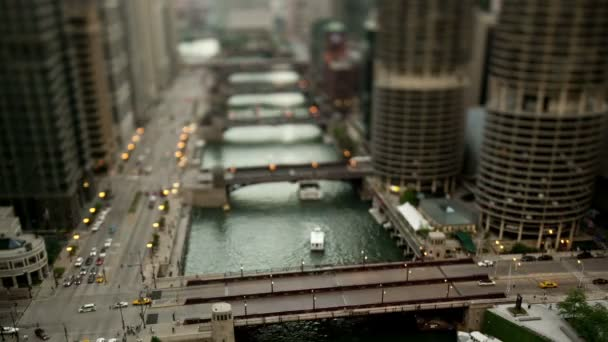 Centru města Chicago River - Tilt Shift