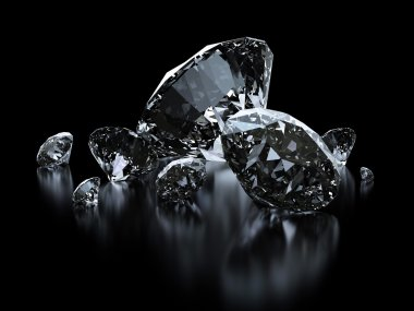 Luxury diamonds on black backgrounds - clipping path included