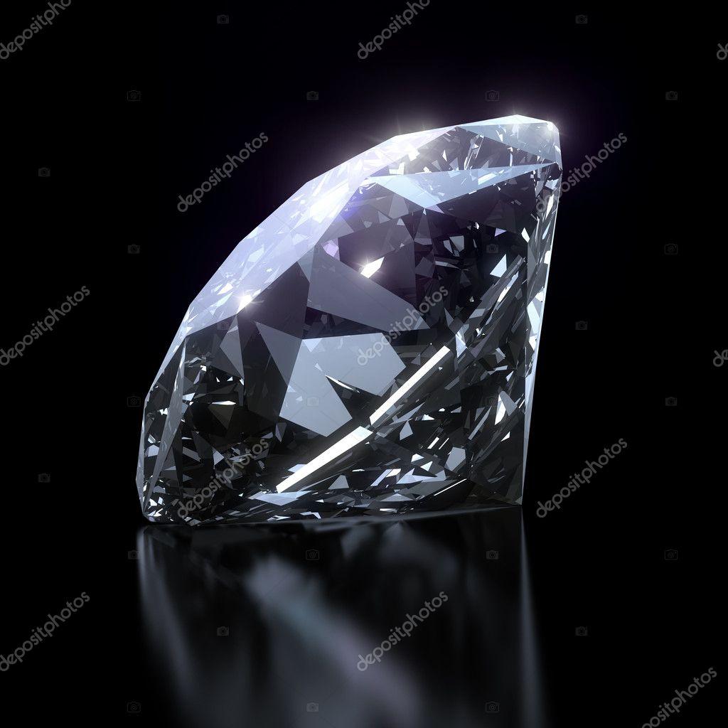 Shiny diamond on black background