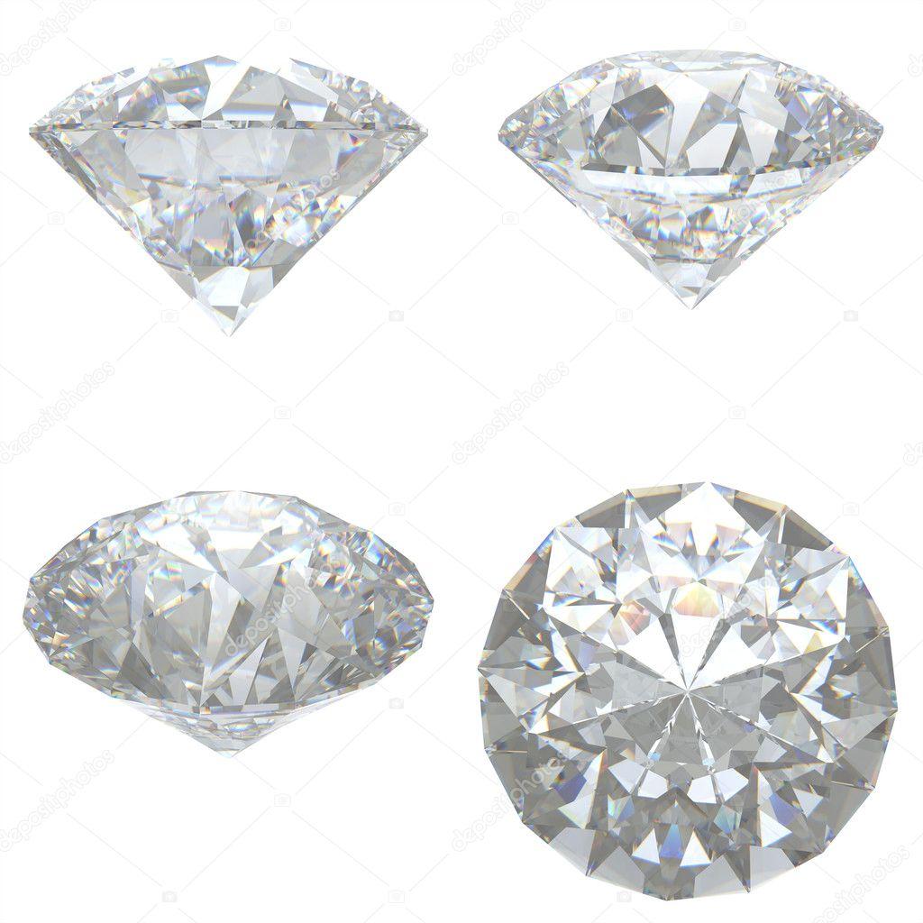 4 Diamonds set on white background - clipping path