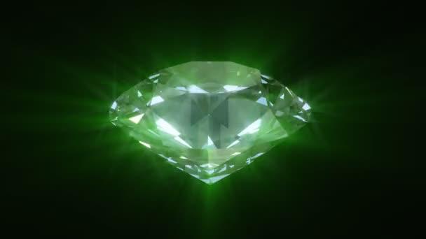 spřádání zeleně zářící diamant - smyčky 3d animace
